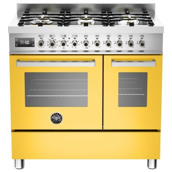 Bertazzoni Professional Series 90cm Dual Fuel Twin Range Cooker Yellow