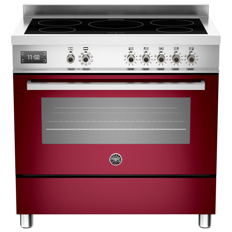 Bertazzoni Professional Series 90cm Electric Induction Single Range Cooker Burgundy