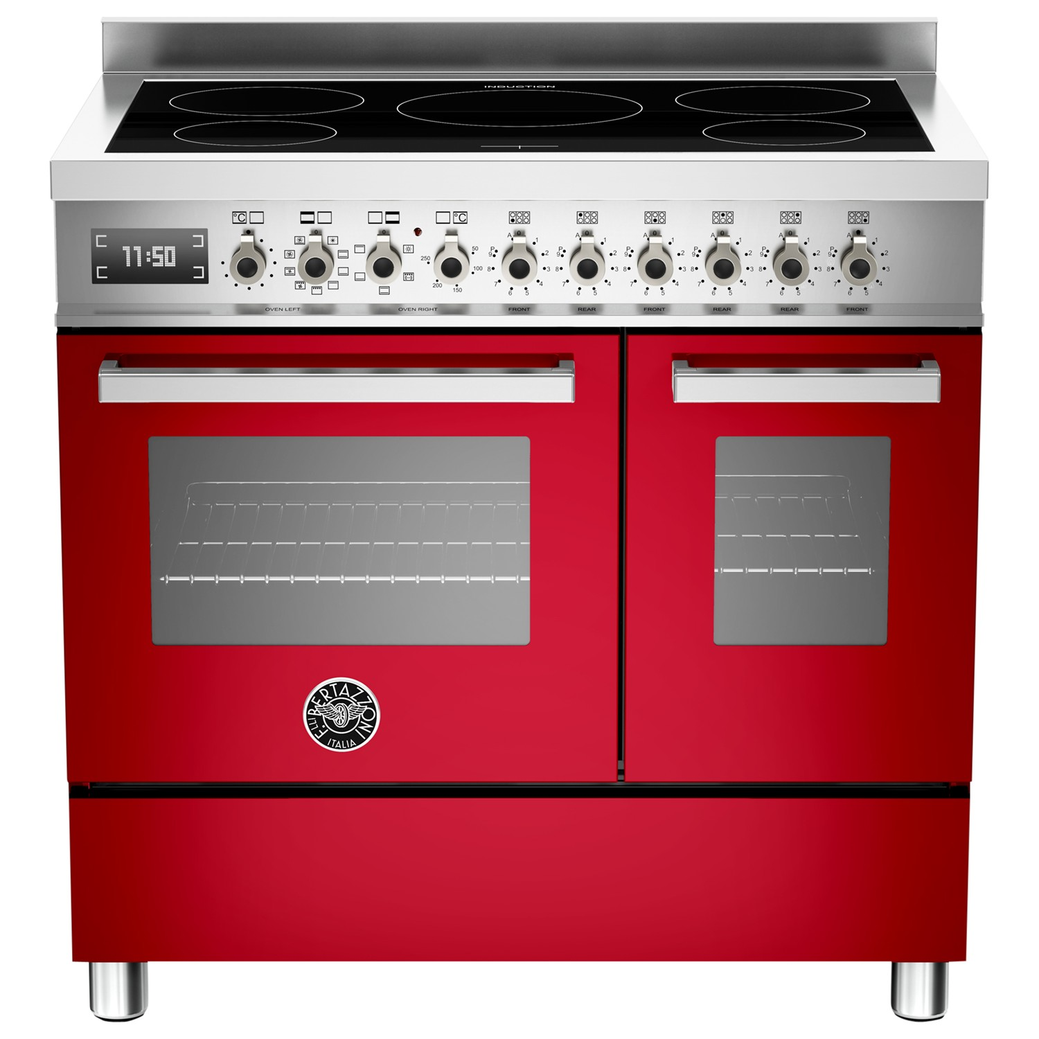 Bertazzoni Professional Series 90cm Electric Induction Twin Range Cooker Red