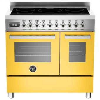 Bertazzoni Professional Series 90cm Electric Induction Twin Range Cooker Yellow