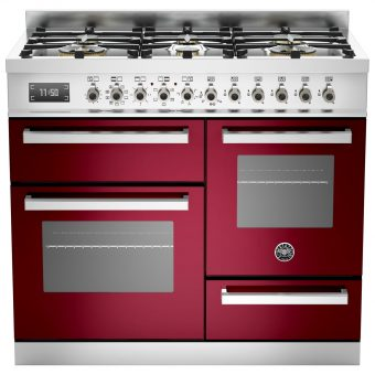 Bertazzoni Professional Series Dual Fuel Range Cooker Burgundy