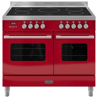 Britannia RC-10TI-DE Delphi Induction Hob Range Cooker Gloss Red