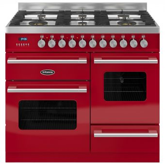 Britannia RC-10XGG-DE Delphi Dual Fuel Range Cooker Gloss Red