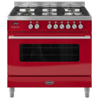 Britannia RC-9SG-DE Delphi Dual Fuel Range Cooker Gloss Red