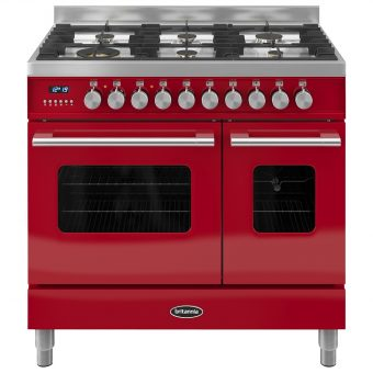 Britannia RC-9TG-DE Delphi Dual Fuel Range Cooker Gloss Red
