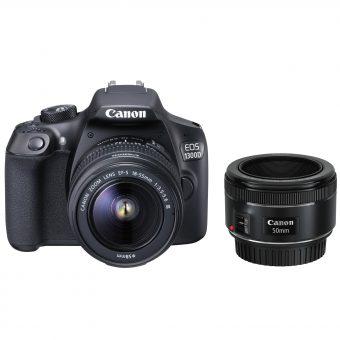 Canon EOS 1300D Digital SLR Camera with EF 18-55mm f/3.5-5.6 III Lens & EF 50 mm f/1.8 Lens