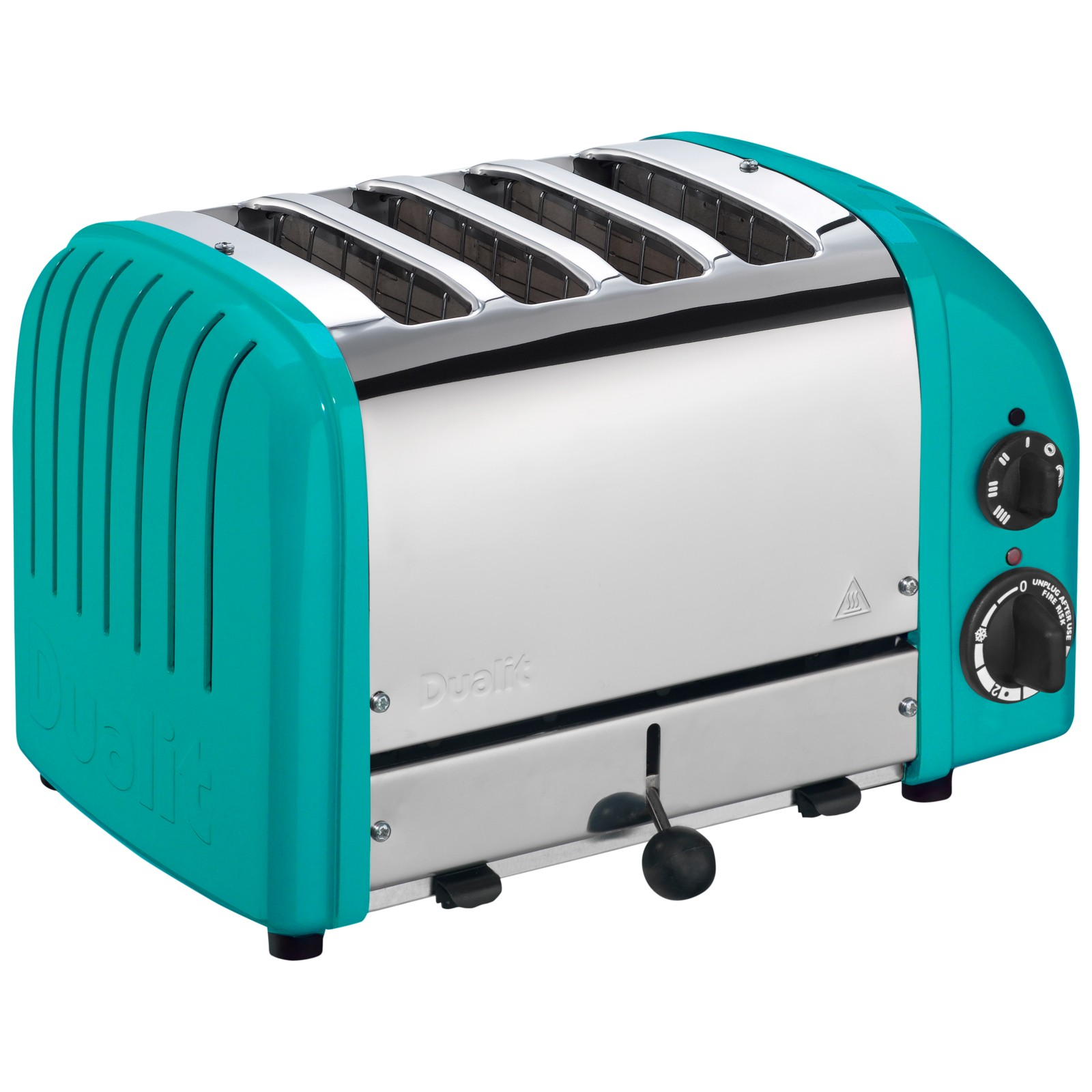 Dualit Made to Order Classic 4-Slice Toaster Stainless Steel/Turquoise Blue Gloss