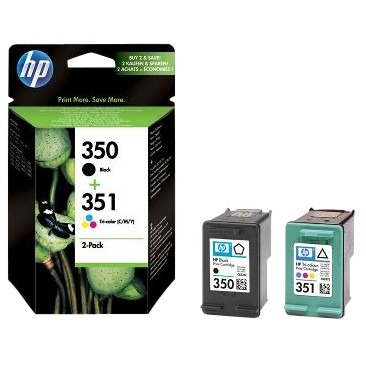 HP 350 Black and 351 Colour Inkjet Cartridges