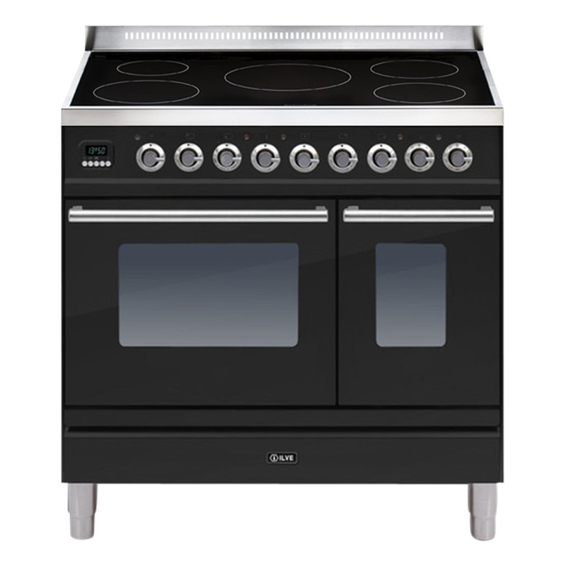 ILVE Roma Induction Freestanding Range Cooker Gloss Black