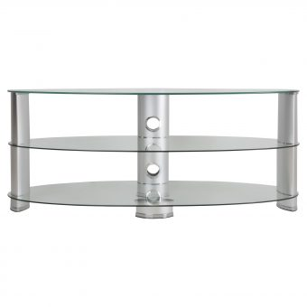 "John Lewis 1200 Oval TV Stand for TVs up to 60"" Clear Glass"
