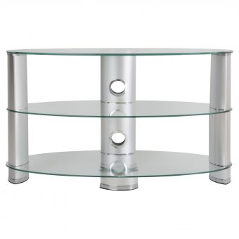 "John Lewis 850 Oval TV Stand for TVs up to 40"" Clear Glass"