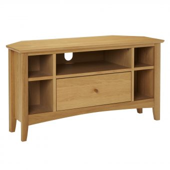 John Lewis Alba Oak Corner TV Stand Natural