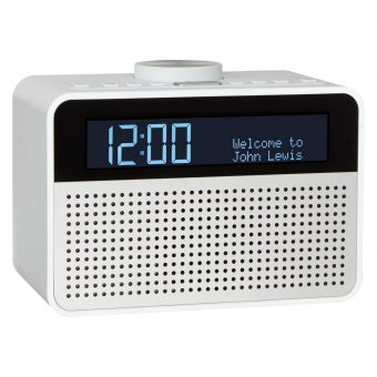 John Lewis Astro DAB+/FM Digital Clock Radio with Alarm & LCD Display White