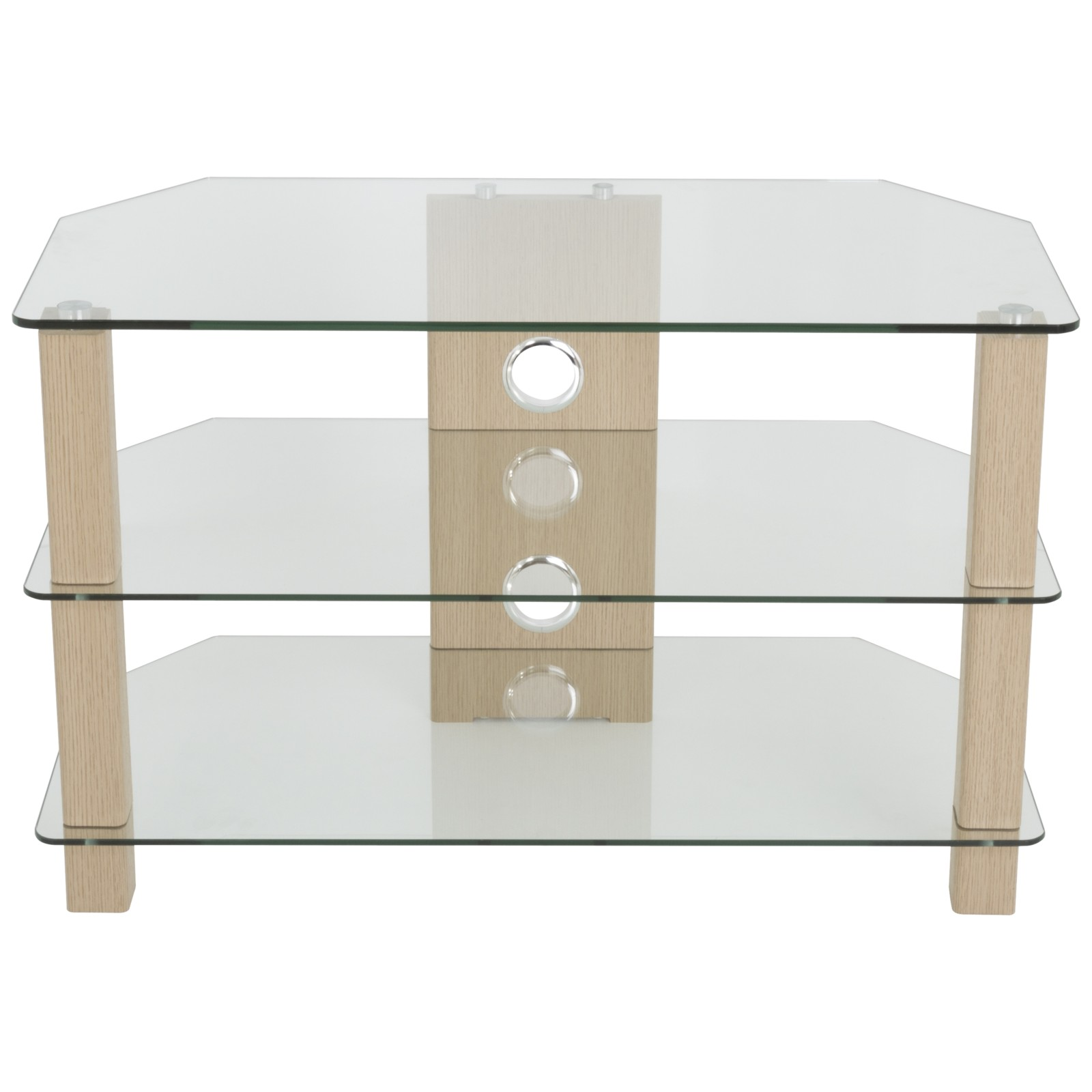 """John Lewis WG800 TV Stand for TVs up to 40"""" Oak/ Clear Glass"""