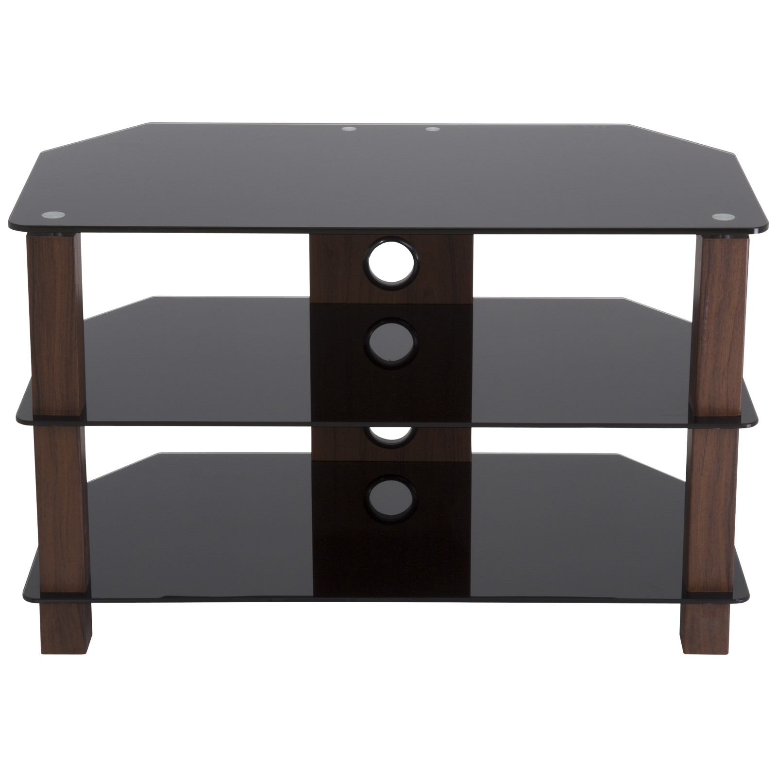 "John Lewis WG800 TV Stand for TVs up to 40"" Walnut/ Black Glass"