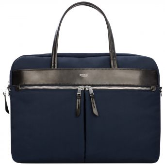"Knomo Hanover Slim Briefcase for 14"" Laptops Navy"