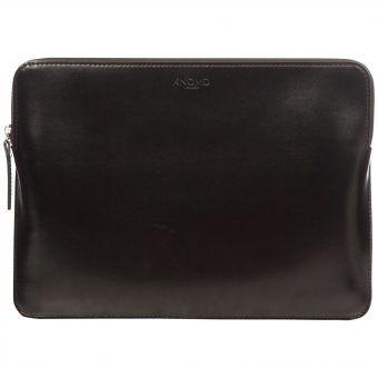"Knomo Leather Zip Sleeve for 12"" Laptop Black"