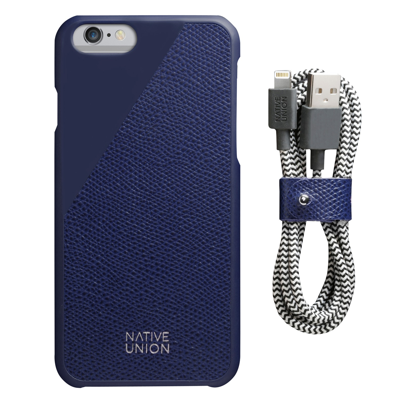 Native Union Clic Leather Case and USB Cable for iPhone 6/6s Navy