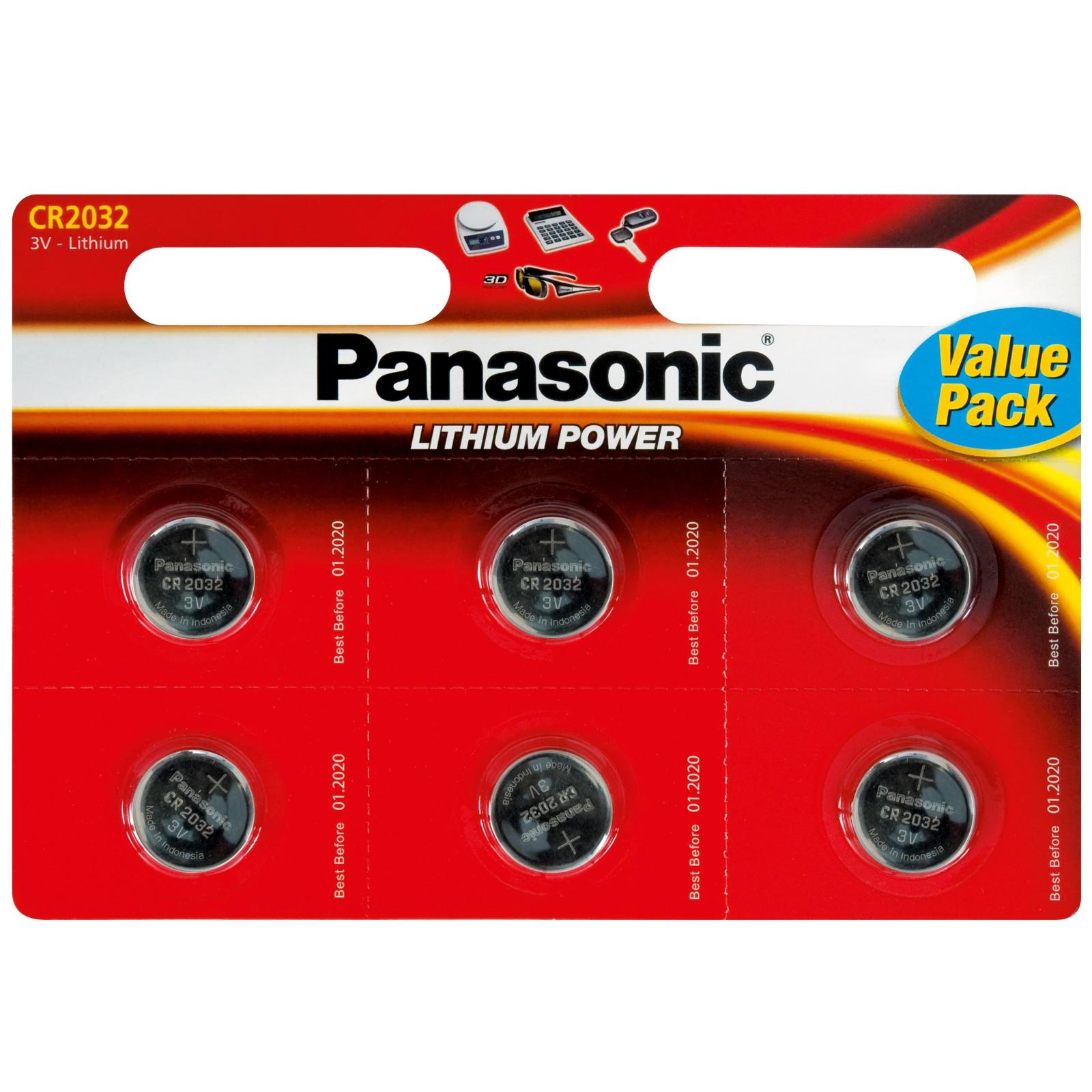Panasonic CR-2032L/6BP Lithium Coin Batteries