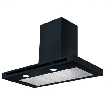 Rangemaster Hi-Lite Chimney Cooker Hood Black