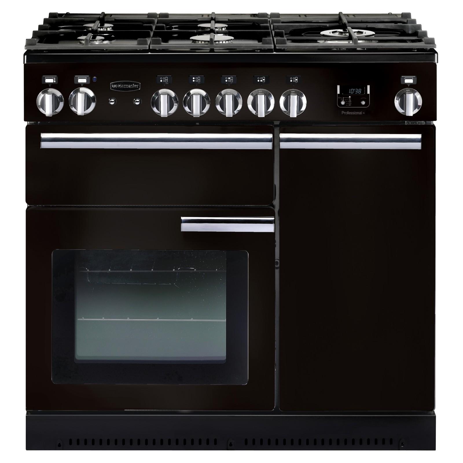 Rangemaster Professional+ 90 Dual Fuel Range Cooker Gloss Black
