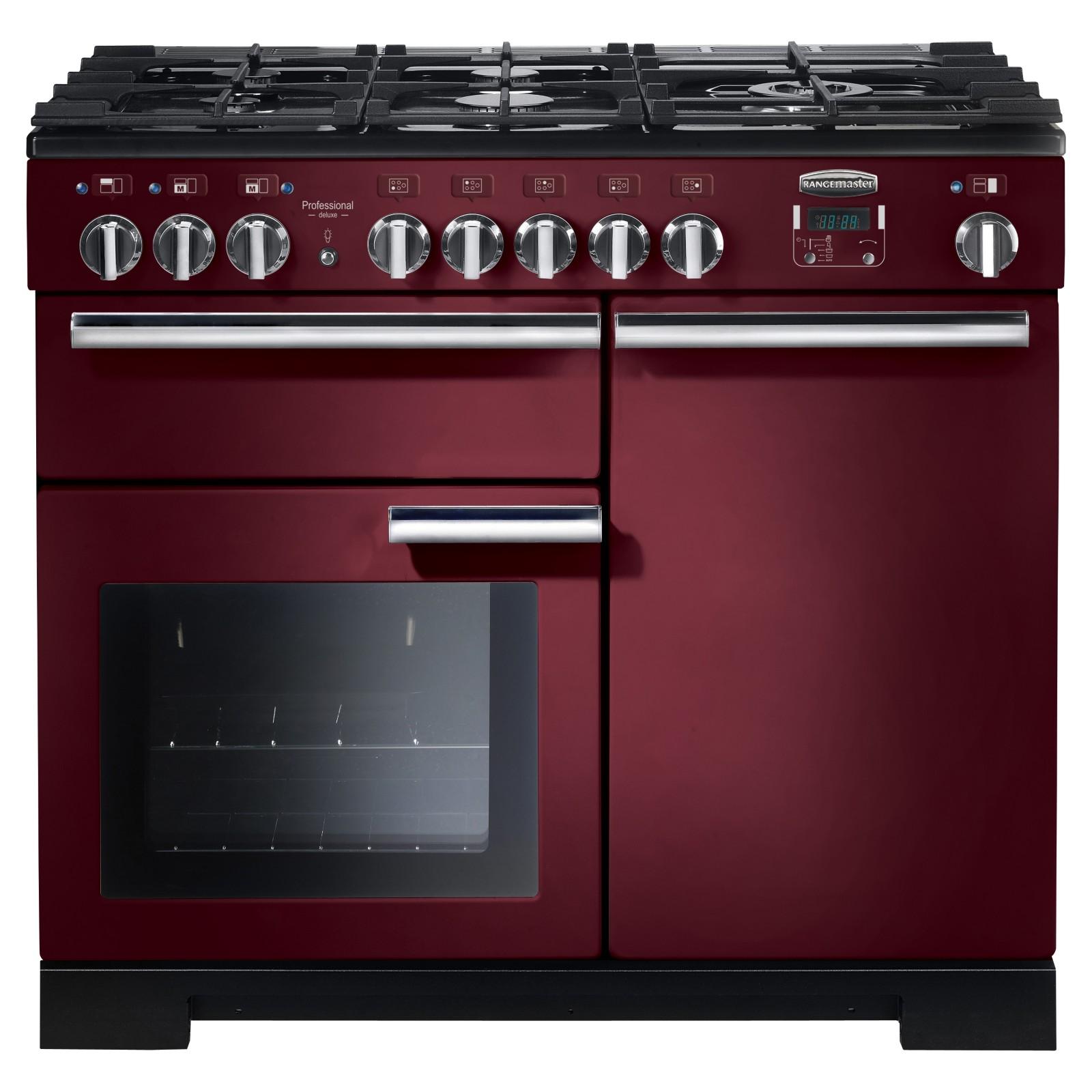 Rangemaster Professional Deluxe 100 Dual Fuel Range Cooker Cranberry
