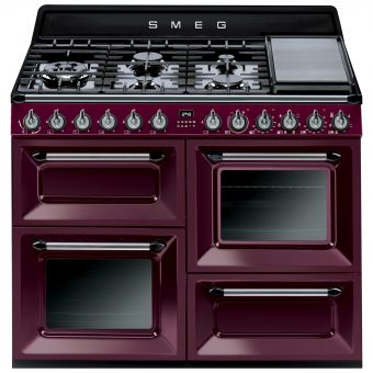 Smeg TR4110 Dual Fuel Range Cooker Red Wine