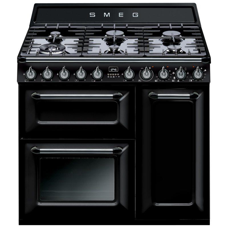 Smeg Victoria Dual Fuel Range Cooker Gloss Black
