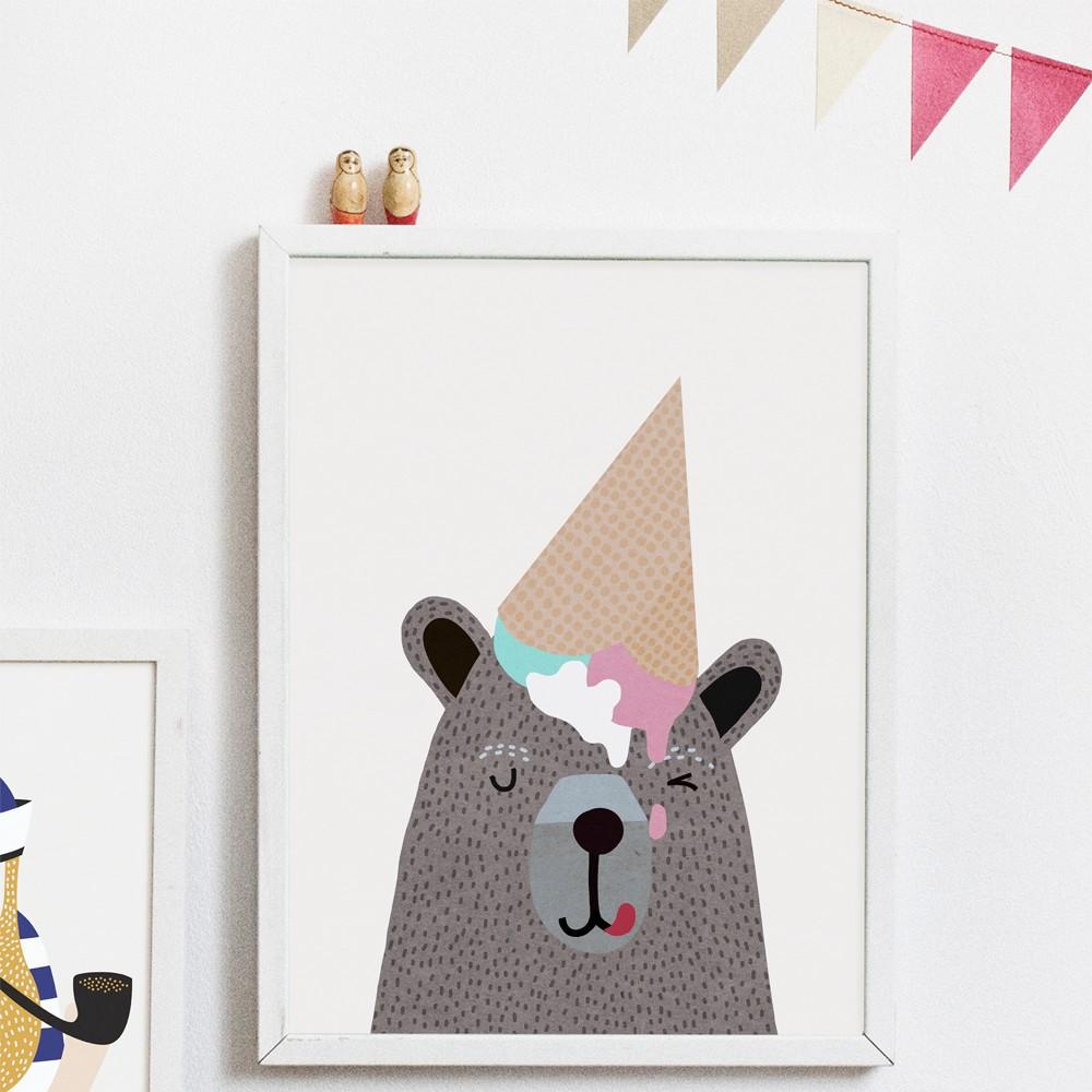 Michelle Carlslund Illustration Bear Ice Cream Poster