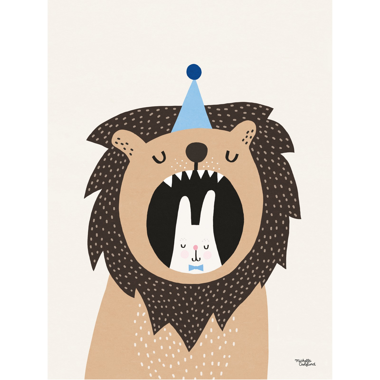 Michelle Carlslund Illustration Lion and Bunny Poster