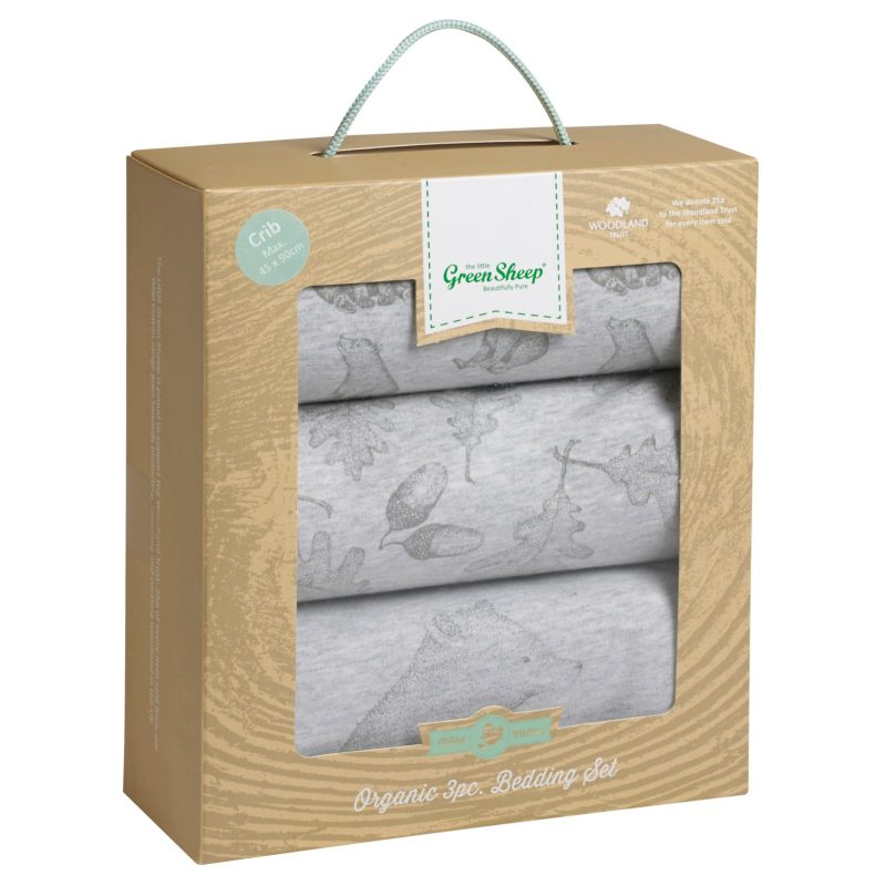 The Little Green Sheep Wild Cotton Baby Bear Crib Bedding Set