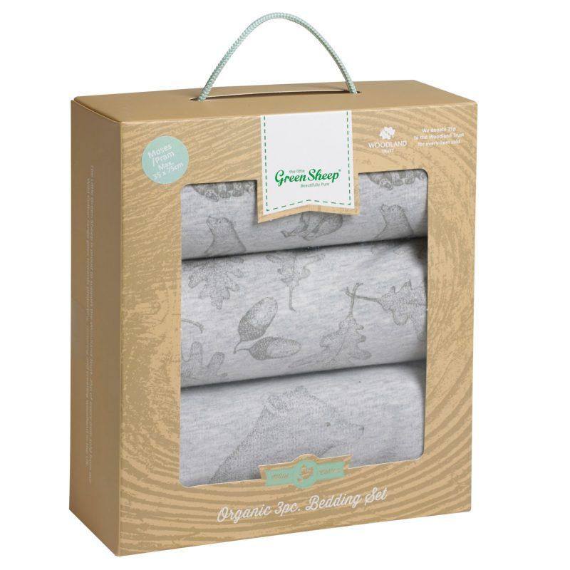 The Little Green Sheep Wild Cotton Baby Bear Pram Bedding Set